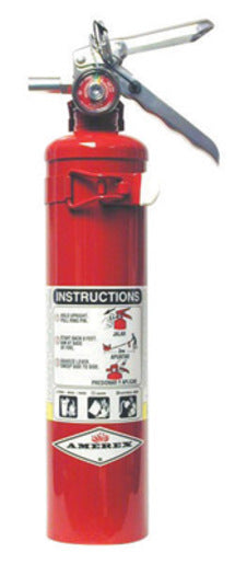 Amerex® 2.5 Pound Stored Pressure ABC Dry Chemical 1A:10B:C Multi-Purpose Fire Extinguisher For Class A, B And C Fires With Anodized Aluminum Valve, Vehicle Bracket And Nozzle