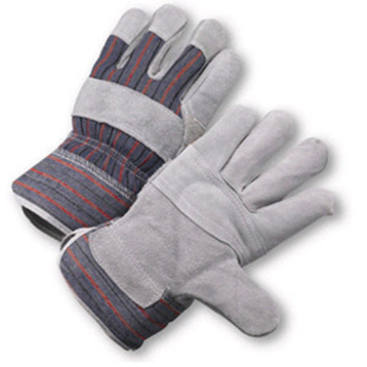 Radnor® Large Economy Grade Split Leather Palm Gloves With Safety Cuff, Striped Canvas Back And Leather Palm Patch, Reinforced Knuckle Strap, Pull Tab, Index Finger And Fingertips