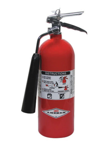 Amerex® 5 Pound Stored Pressure Carbon Dioxide 5-B:C Fire Extinguisher For Class B And C Fires With Chrome Plated Brass Valve, Wall Bracket And Horn