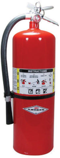 Amerex® 20 Pound Stored Pressure ABC Dry Chemical 10A:120B:C Multi-Purpose Fire Extinguisher For Class A, B And C Fires With Anodized Aluminum Valve, Wall Bracket, Hose And Nozzle