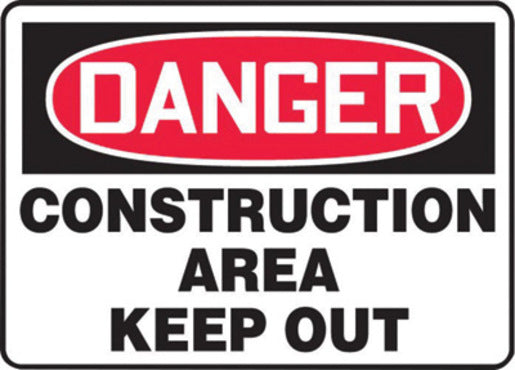 "Accuform Signs® 10"" X 14"" Black, Red And White 0.040"" Aluminum Admittance And Exit Sign ""DANGER CONSTRUCTION AREA KEEP OUT"" With Round Corner"