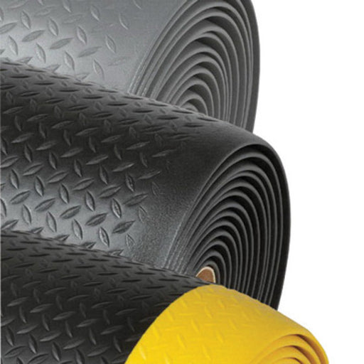 "Superior Manufacturing Notrax® 4' X 60' Black 1/2"" Thick Dyna-Shield® PVC Sponge Diamond Sof-Tred™ Dry Area Safety/Anti-Fatigue Floor Mat"