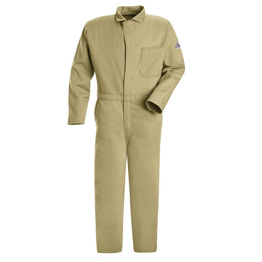 "Bulwark® 40"" Khaki Cotton Flame Resistant Coverall With Zipper Closure"