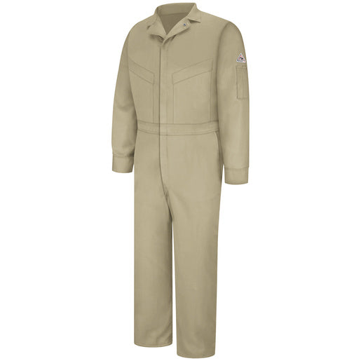 "Bulwark® 54"" Khaki Cotton Excel FR® ComforTouch™ Nylon Flame Resistant Coverall With Zipper Closure"