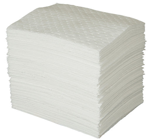 "Brady® 15"" X 19"" SPC™ White 1-Ply Meltblown Polypropylene Dimpled Perforated Heavy Weight Sorbent Pad (100 Per Bale)"