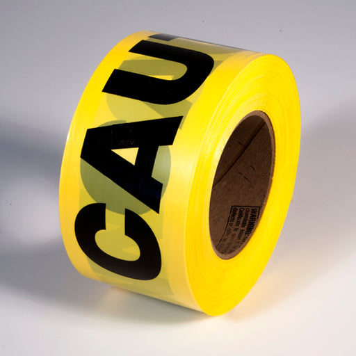 "Radnor® 3"" X 1000' Yellow 2 mil Barricade Tape ""Caution"""