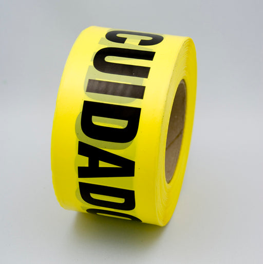 "Radnor® 3"" X 1000' Yellow 2 mil Bilingual Barricade Tape ""Caution Cuidado"""