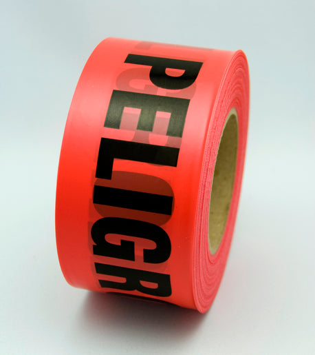 "Radnor® 3"" X 1000' Red 2 mil Bilingual Barricade Tape ""Danger Peligro"""