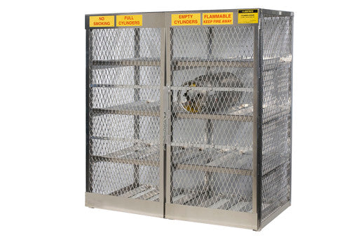 "Justrite® 60"" X 65"" X 32"" Aluminum Horizontal 16 Cylinder Storage Locker With (6) Manual Close Door And (6) Shelves (For Flammables)"