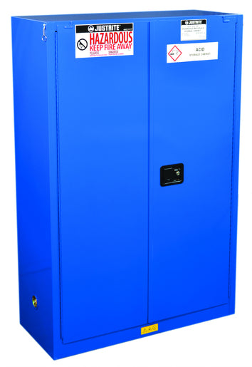 Justrite® 45 Gallon Royal Blue Sure-Grip® EX 18 Gauge CR Steel Hazardous Material Safety Cabinet With (2) Adjustable Shelves And (2) Self-Closing Doors