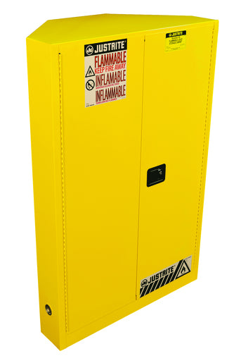 Justrite® 45 Gallon Yellow Sure-Grip® EX 18 Gauge Cold Rolled Steel Corner Safety Cabinet For Flammables With (2) Adjustable Shelves And (2) Manual Close Door