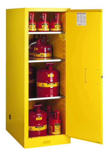 Justrite® 55 Gallon Yellow Sure-Grip® EX 18 Gauge Cold Rolled Steel Deep Slimline Safety Cabinet With (1) Self-Closing Door And (3) Shelves (For Flammables)