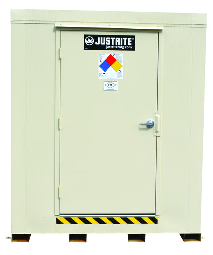 Justrite® 80 Gallon Bone Heavy Gauge Steel 2-Hour Fire-Rated 4-Drum Outdoor Safety Locker With (1) Self Closing Door (For Flammables And Combustibles)