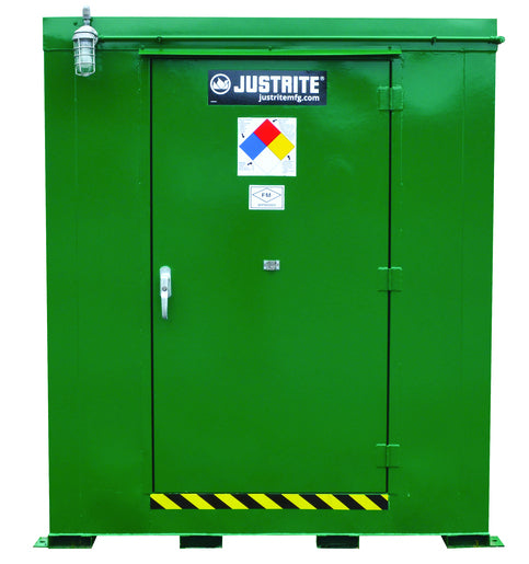 Justrite® Green Agri-Turf™ Heavy Gauge Steel Outdoor Safety Locker With (9) Shelves And (1) Door