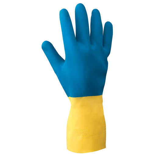 "Radnor® Size 8 Yellow 12"" Flock Lined 22 Mil Latex Gloves With Blue Neoprene Coating And Embossed Grip Pattern"