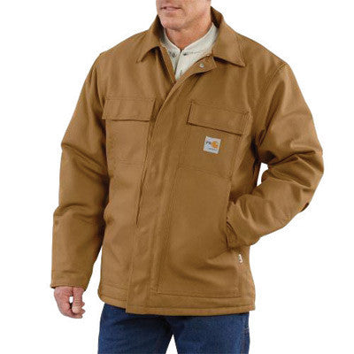 Carhartt¨ Large Tall Brown 13 Ounce Cotton Duck Flame Resistant Traditional Coat With 2-Way Zipper Closure, Quilt Lining, (2) Inside Patch Pockets With Hook-And-Loop Closure