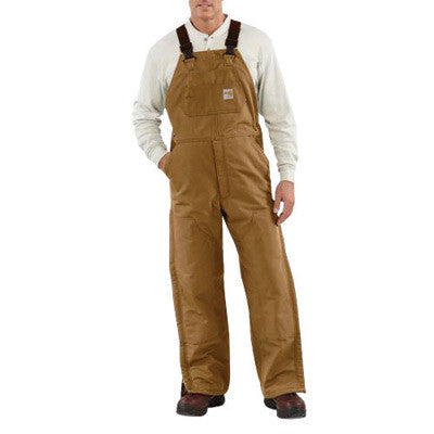"Carhartt¨ 40"" X 34"" Brown 13 Ounce Cotton Duck Flame Resistant Bib Overall With Zipper And Snap Closure, Quilt Lining, Elastic Suspenders, Nylon Center-Release Buckles And Utility Pocket"