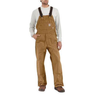"Carhartt¨ 42"" X 30"" Brown 13 Ounce Cotton Duck Flame Resistant Bib Overall With Zipper And Snap Closure, Elastic Suspenders And Chest Pocket"