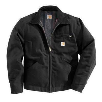 Carhartt¨ 5X Regular Black Flannel Quilt Body Nylon Quilt Sleeves Lined 12 Ounce Heavy Weight Cotton Duck Detroit Jacket Triple-Stitched Seams (2) Lower Front Pockets, Left-Chest Pocket And Inside Welt Pocket