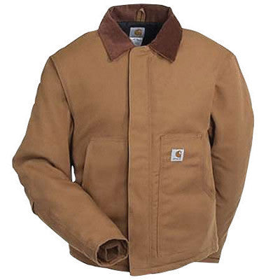 Carhartt¨ Large Tall Brown Nylon Quilt Lined 12 Ounce Heavy Weight Cotton Duck Arctic Traditional Jacket With Front Zipper, Hook And Loop Closure Triple-Stitched Seams (2) Lower Front Pockets, (2) Inside Pockets And Split Back
