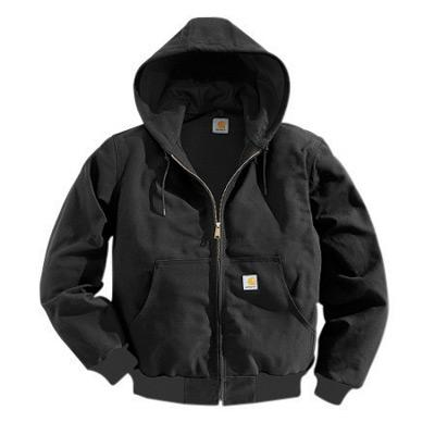 Carhartt¨ X-Large Tall Black Polyester Thermal Lined 12 Ounce Heavy Weight Cotton Duck Active Jacket With Front Zipper Closure Triple-Stitched Seams (2) Large Hand-Warmer Pockets, (2) Inside Pockets And Attached Hood