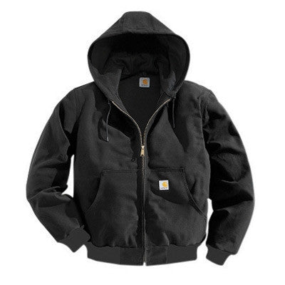 Carhartt¨ 4X Tall Black Polyester Thermal Lined 12 Ounce Heavy Weight Cotton Duck Active Jacket With Front Zipper Closure Triple-Stitched Seams (2) Large Hand-Warmer Pockets, (2) Inside Pockets And Attached Hood