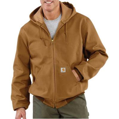 Carhartt¨ Large Tall Brown Polyester Thermal Lined 12 Ounce Heavy Weight Cotton Duck Active Jacket With Front Zipper Closure Triple-Stitched Seams (2) Large Hand-Warmer Pockets, (2) Inside Pockets And Attached Hood