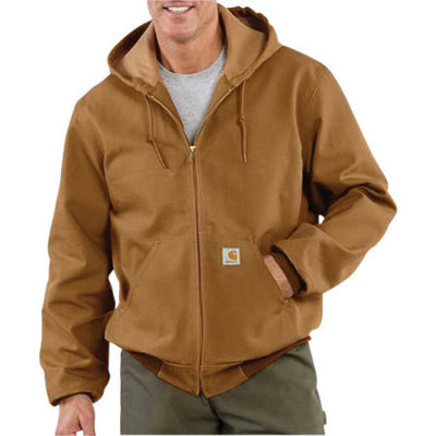 Carhartt® 3X Tall Brown Polyester Thermal Lined 12 Ounce Heavy Weight Cotton Duck Active Jacket With Front Zipper Closure Triple-Stitched Seams (2) Large Hand-Warmer Pockets, (2) Inside Pockets And Attached Hood
