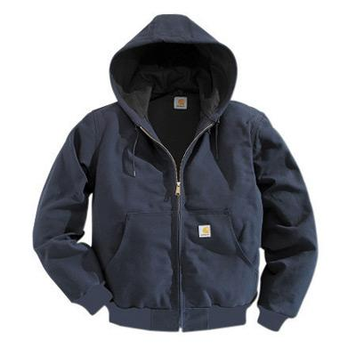 Carhartt¨ 3X Regular Dark Navy Polyester Thermal Lined 12 Ounce Heavy Weight Cotton Duck Active Jacket With Front Zipper Closure Triple-Stitched Seams (2) Large Hand-Warmer Pockets, (2) Inside Pockets And Attached Hood