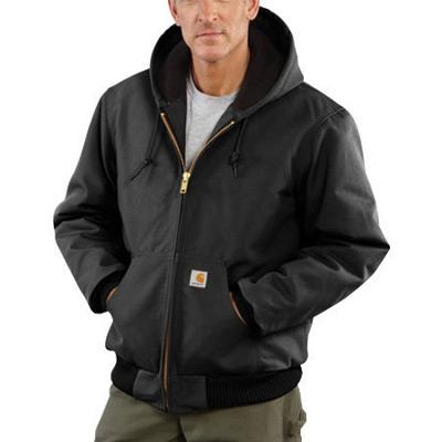 Carhartt¨ Large Regular Black Flannel Quilt Body Nylon Quilt Sleeves Lined 12 Ounce Heavy Weight Cotton Duck Active Jacket With Front Zipper Closure Triple-Stitched Seams (2) Lower Front Pockets And (2) Inside Pockets