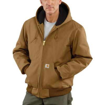 Carhartt¨ Large Regular Brown Flannel Quilt Body Nylon Quilt Sleeves Lined 12 Ounce Heavy Weight Cotton Duck Active Jacket With Front Zipper Closure Triple-Stitched Seams (2) Lower Front Pockets And (2) Inside Pockets