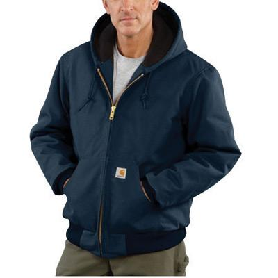 Carhartt¨ Large Tall Dark Navy Flannel Quilt Body Nylon Quilt Sleeves Lined 12 Ounce Heavy Weight Cotton Duck Active Jacket With Front Zipper Closure Triple-Stitched Seams (2) Lower Front Pockets And (2) Inside Pockets