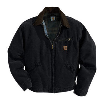 Carhartt¨ Large Tall Black Blanket Body Nylon Quilt Sleeves Lined 12 Ounce Cotton Duck Sandstone Detroit Jacket With Front Zipper Closure Triple-Stitched Seams (2) Lower Front Pockets, Inside Welt Pocket And Left-Chest Pocket