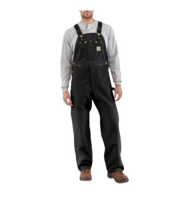 "Carhartt® Size 32"" X 30"" Black 12 Ounce Mid Weight Cotton Duck Zip to Waist Bib Overalls With Buckles Closure And Two Chest Pockets With Zipper Closure"