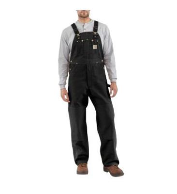 "Carhartt¨ Size 48"" X 32"" Black 12 Ounce Mid Weight Cotton Duck Zip to Waist Bib Overalls With Buckles Closure And Two Chest Pockets With Zipper Closure"