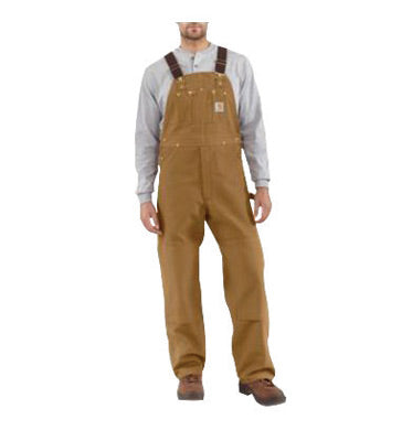 "Carhartt® Size 32"" X 34"" Carhartt Brown 12 Ounce Mid Weight Cotton Duck Zip to Waist Bib Overalls With Buckles Closure And Two Chest Pockets With Zipper Closure"