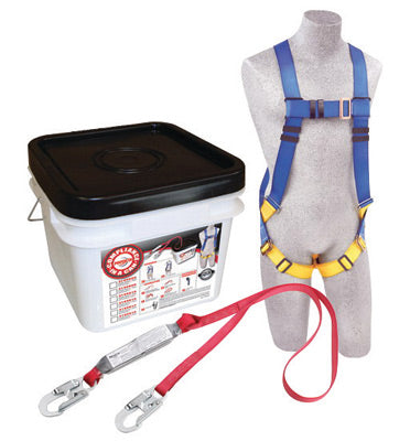 DBI/SALA® Protecta® PRO™ Compliance-In-A-Can™ Light Roofer's Fall Protection Kit (Includes 1191995 First™ Harness, 1341001 Pro™ 6' Single-Leg Shock Absorbing Lanyard, Bucket And 3600 lb Gated Hooks), 48 Per Pack