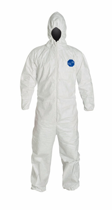 DuPont™ 2X White Safespec™ Tyvek® Flash Spun Polyethylene Disposable Coveralls With Front Zipper Closure, Respirator Fit Hood, Elastic Wrist And Elastic Ankles