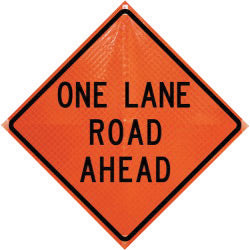 "Dicke Safety Products 36"" Black And Orange Polycarbonate Reflective Roll-Up Traffic Sign ""One Lane Road Ahead"""
