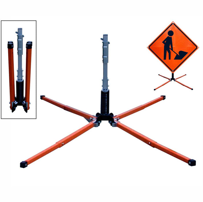 "Dicke Safety Products 12"" X 22"" Black And Orange Steel UniFlex'Ñ¢ Screwlock Roll-Up Sign Stand With Steel Coil Spring"