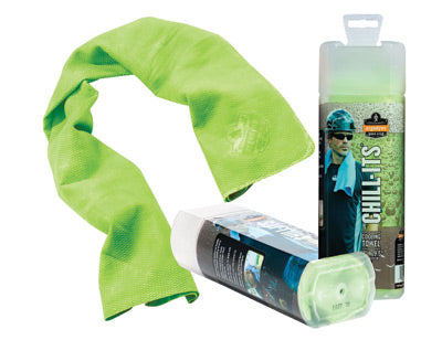 "Ergodyne 13"" X 29 1/2"" Hi-Viz Lime Chill-Its® 6602 PVA Evaporative Cooling Towel"