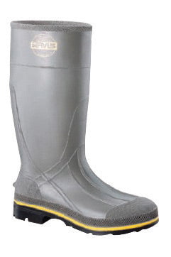 "Servus® By Honeywell Size 10 PRO® Gray 15"" PVC Knee Boots With TDT® Dual Compound Yellow And Beige Outsole, Steel Toe And Removable Insole"