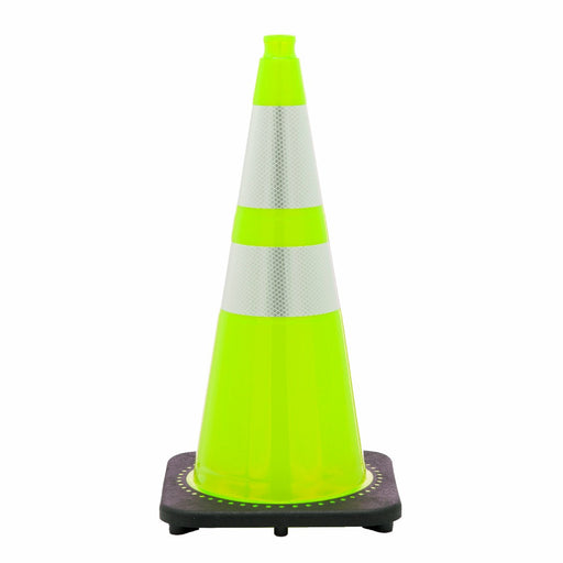"JBC'Ñ¢ 28"" Lime PVC 1-Piece Traffic Cone With Black Base And 6"" 3M'Ñ¢ Reflective Collar"