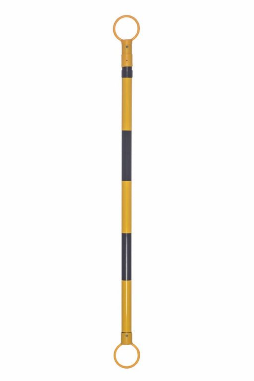 JBC'Ñ¢ 3 1/2' - 6' Black And Yellow Plastic Reflective Retractable Cone Bar With Engineer Grade Reflective Tape (For Use With PVC Traffic Cones And Delineators)