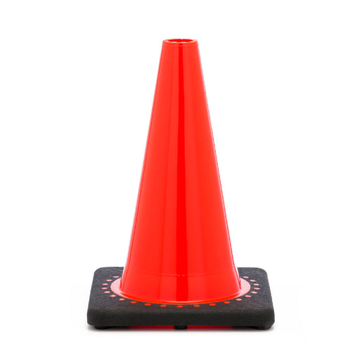 "JBC'Ñ¢ 12"" Orange PVC Revolution Series 1-Piece Traffic Cone With Black Base"