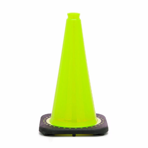 "JBC'Ñ¢ 18"" Lime PVC Revolution Series 1-Piece Traffic Cone With Black Base"