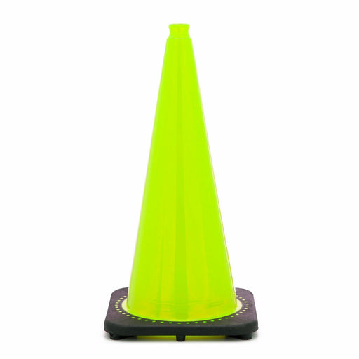"JBC'Ñ¢ 28"" Lime PVC Revolution Series 1-Piece Traffic Cone With Black Base"