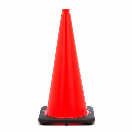 "JBC'Ñ¢ 28"" Orange PVC Revolution Series 1-Piece Traffic Cone With Black Base"