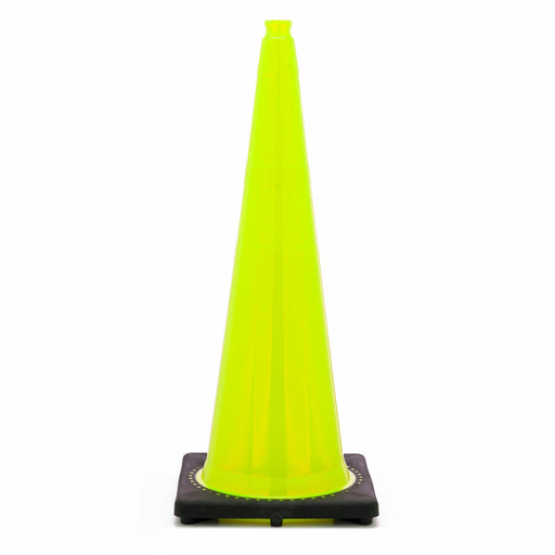 "JBC'Ñ¢ 36"" Lime PVC Revolution Series 1-Piece Traffic Cone With Black Base"