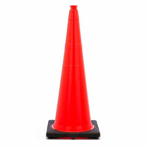 "JBC'Ñ¢ 36"" Orange PVC Revolution Series 1-Piece Traffic Cone With Black Base"